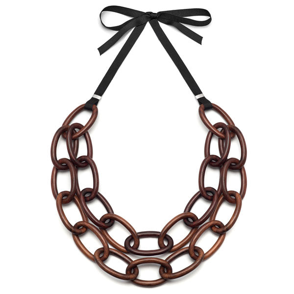 Branch Jewellery - Brown wood double strand oval link necklace set on ribbon
