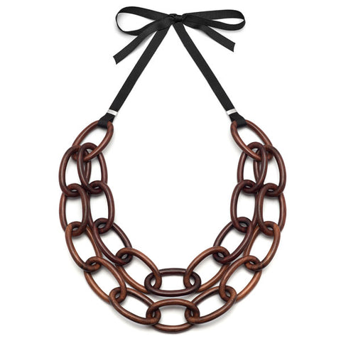 Faceted Rosewood bead necklace