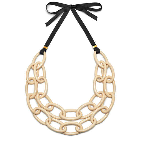 Branch Jewellery - White wood double strand oval link necklace set on ribbon