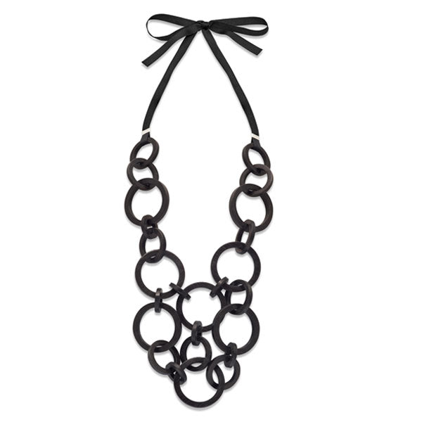Branch Jewellery - Black wood round multi link necklace