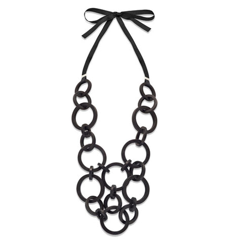 Black wood & silver curb link necklace