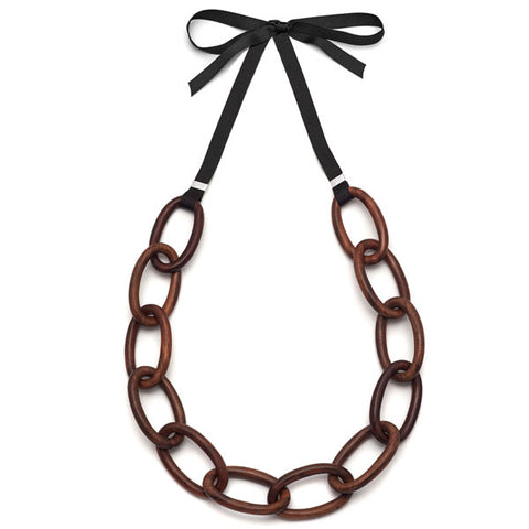 Black wood oval link necklace - Silver