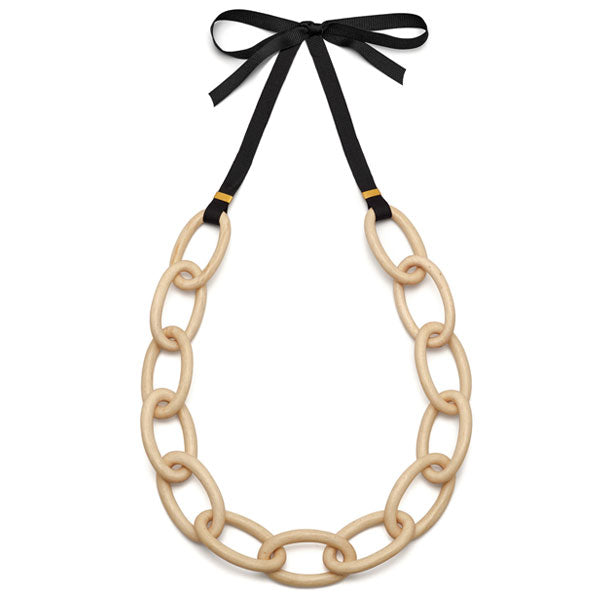 White wood oval link necklace - Gold plate