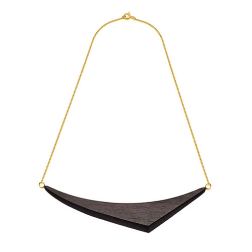Gold Plate and Black Wood cut Triangular Necklace