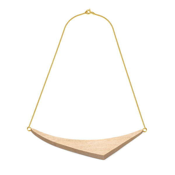 White Wood Triangular Necklace - Gold