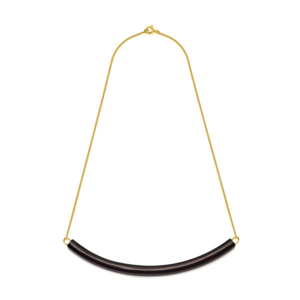 Black Wood Bar Necklace - Gold