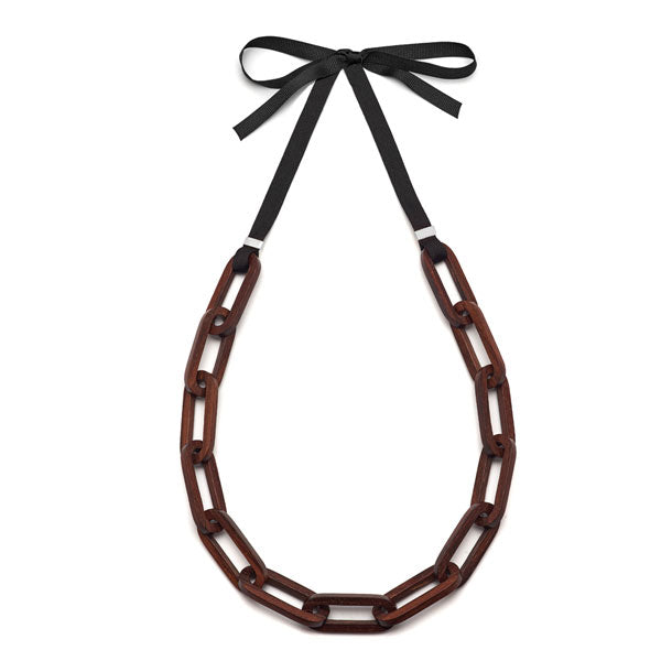 Branch Jewellery - Rectangular brown wooden link necklace set on black ribbon