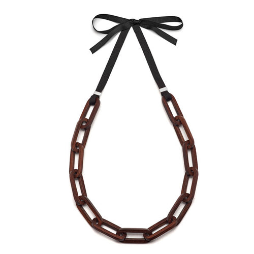 Rosewood and Silver Rectangular Link Necklace
