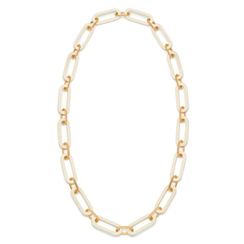 White wood and Gold plate rectangle chain necklace