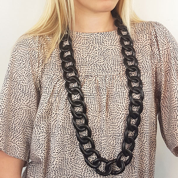 Branch Jewellery - Full curb link black wood necklace