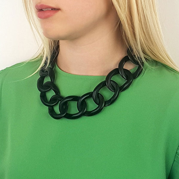 Branch Jewellery - Black wood curb link necklaces with silver clasp