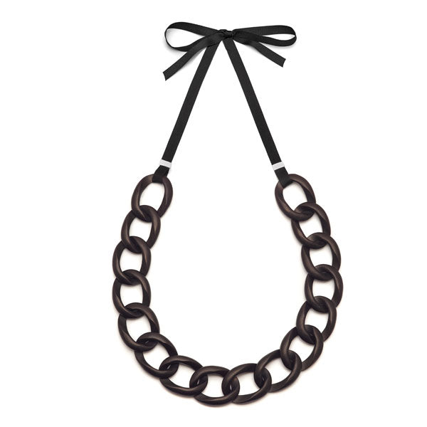 Black wood & ribbon curb link necklace