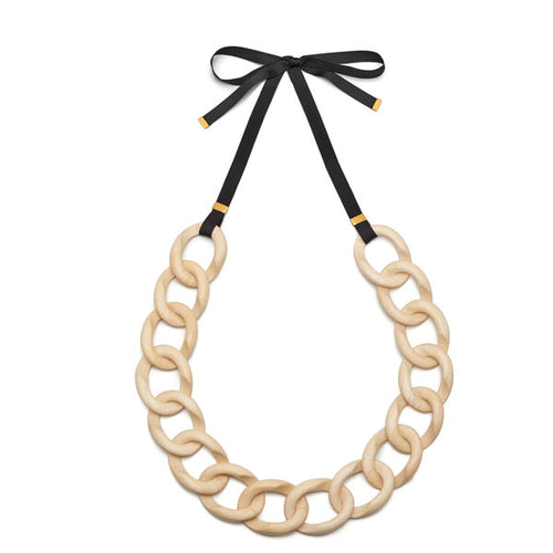 White wood and gold curb linked ribbon necklace