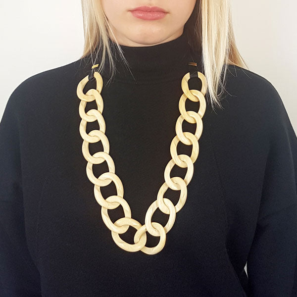Branch Jewellery - White wood curb link necklace set on black ribbon