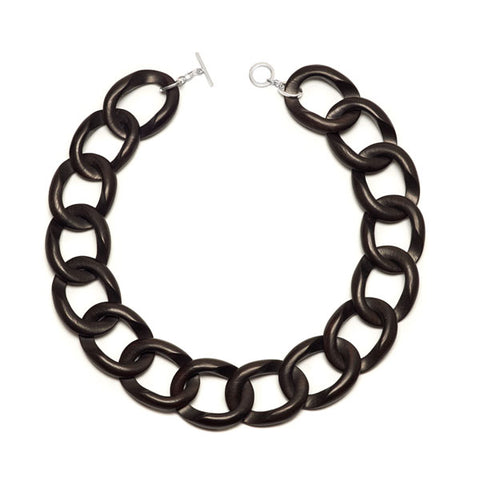 Black wood curb link bracelet - Gold