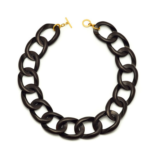 Black wood & gold plate  curb link necklace