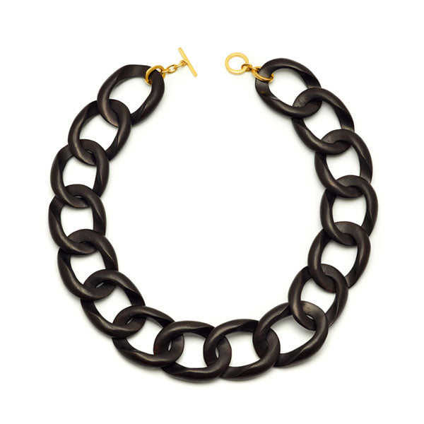 Branch Jewellery - Black wood curb link necklaces with gold clasp