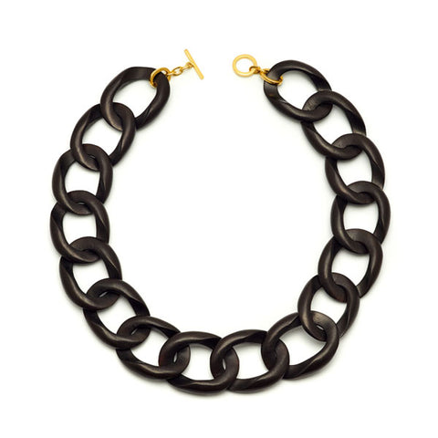 Black Wood full curb link necklace
