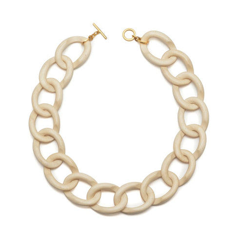 Faceted White wood bead necklace