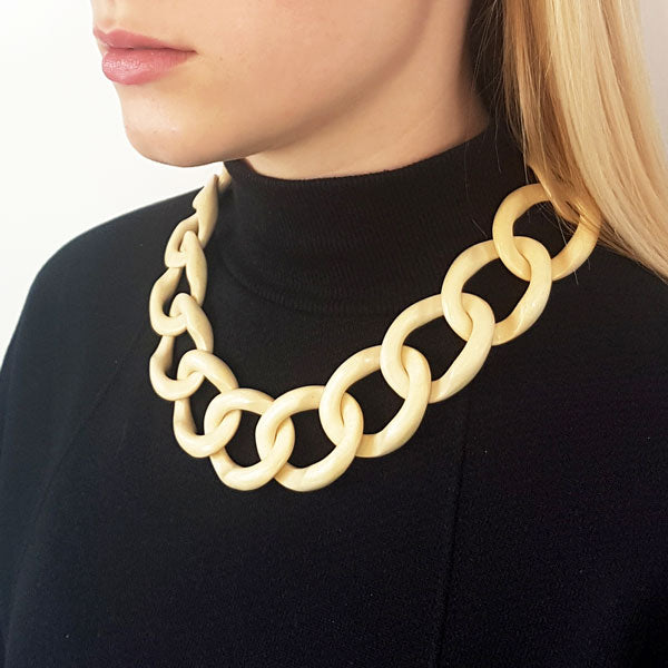 Branch Jewellery - White  wood curb link necklaces with gold clasp