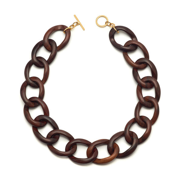 Branch Jewellery - Brown wood curb link necklaces with gold clasp