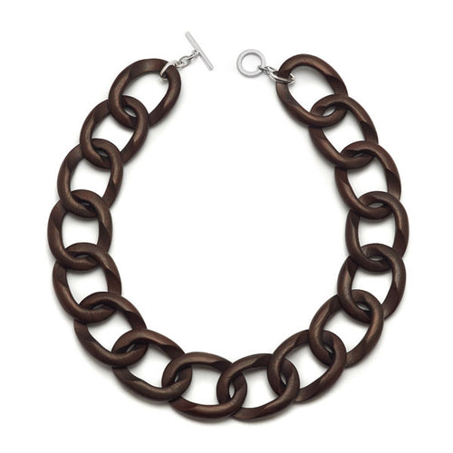Silver and Carved Rosewood Curb link necklace
