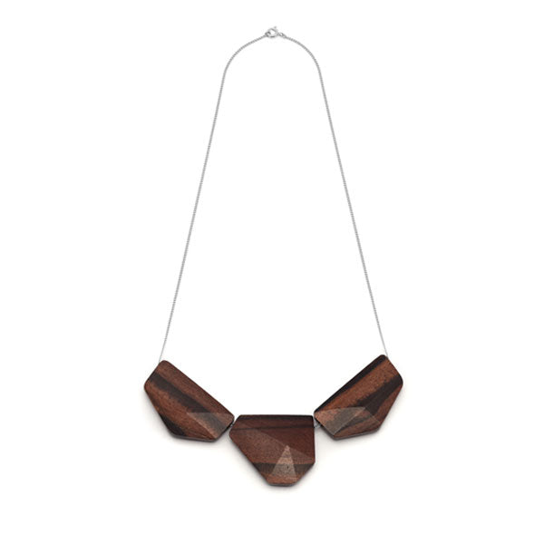 Branch Jewellery - Brown faceted bead and silver chain necklace