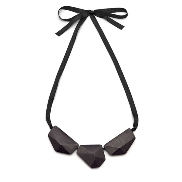 Branch Jewellery - Black wood faceted three bead necklace on black ribbon