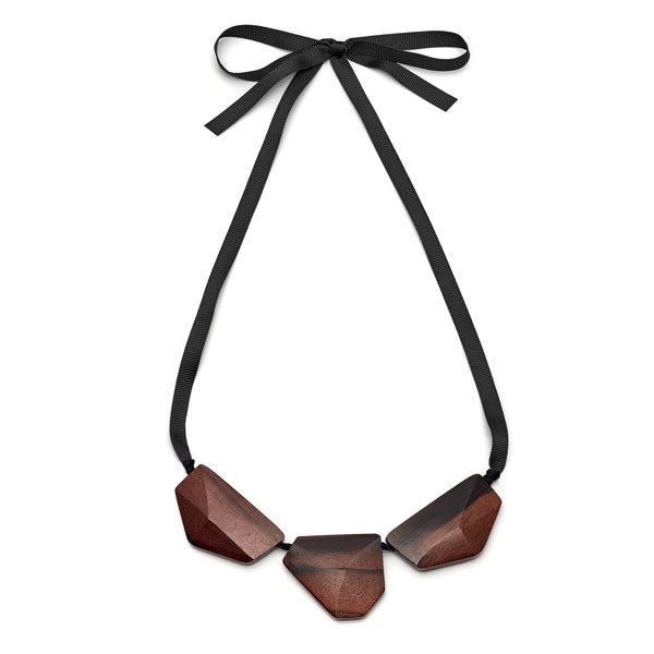 Branch Jewellery - Brown wood faceted three bead necklace on black ribbon