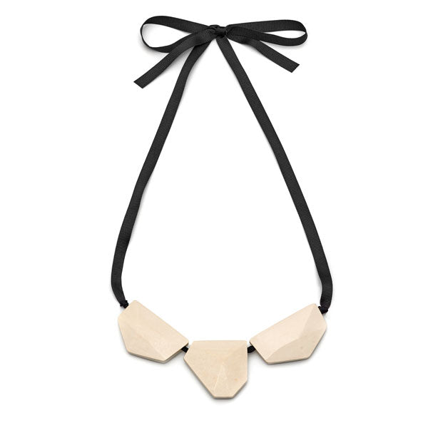 Branch Jewellery - White wood faceted three bead necklace on black ribbon