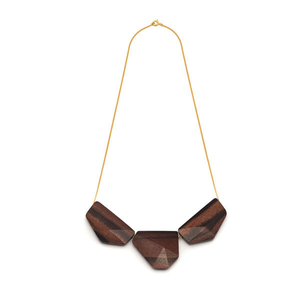 Rosewood & chain flat bead necklace - Gold