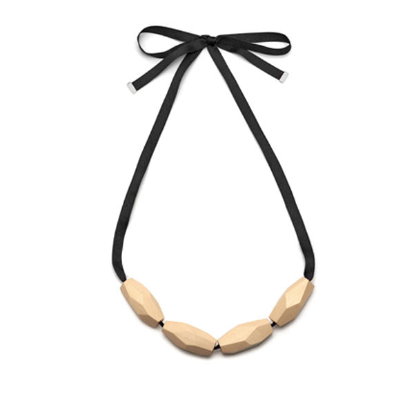 Branch Jewellery - White faceted wood bead necklace on black ribbon