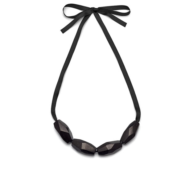 Faceted Black wood bead necklace