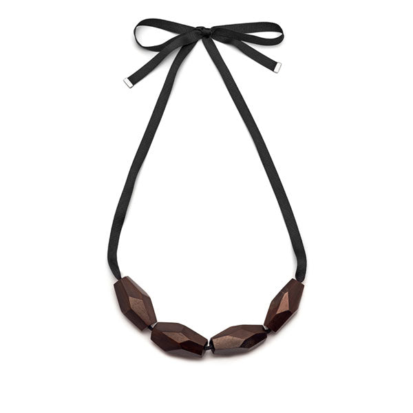 Branch Jewellery - Brown faceted wood bead necklace on black ribbon