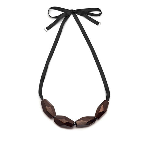 Rosewood Flat Bead Ribbon Necklace