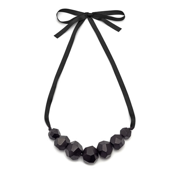 Black wood Faceted ball bead necklace
