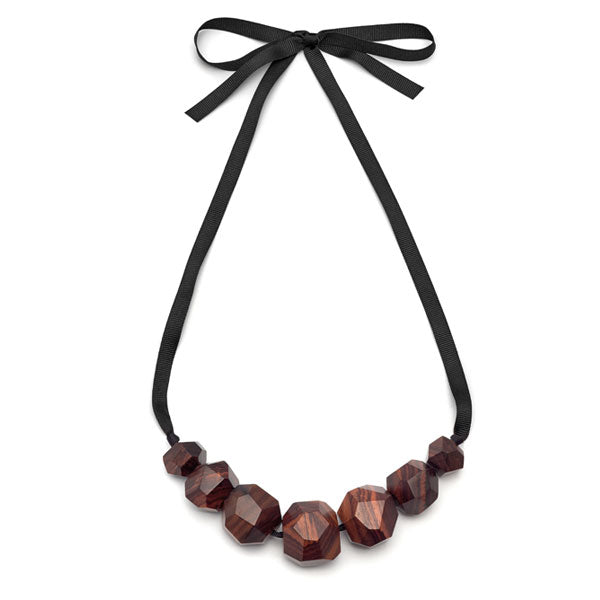 Rosewood Faceted ball bead necklace