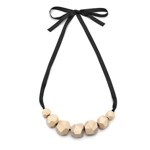 Long bead necklace - Grey