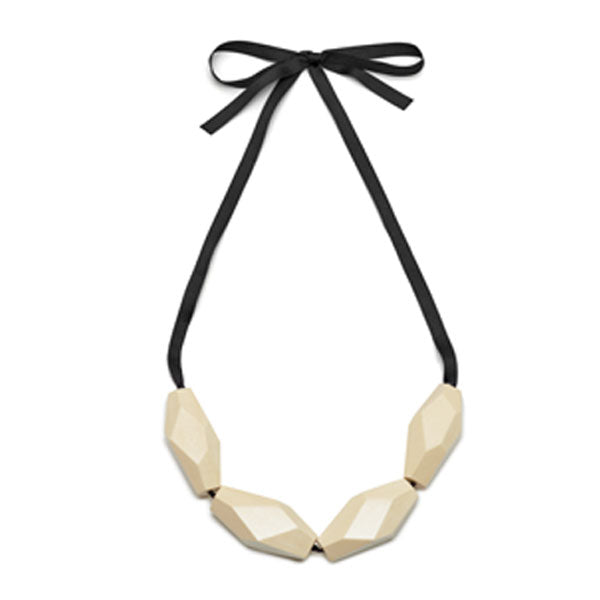 Branch Jewellery - Chunky white faceted wood bead necklace on ribbon