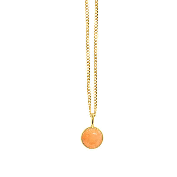 Orange Jade Valencia pendant - Gold Plate