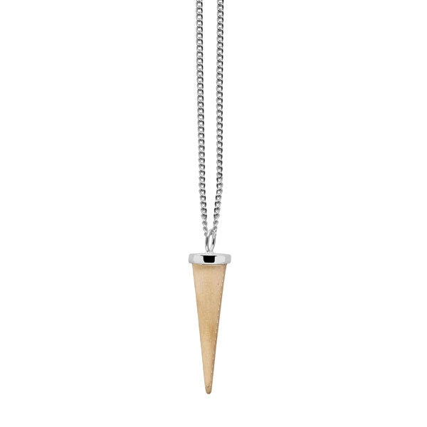 Small White wood and silver round Spike pendant