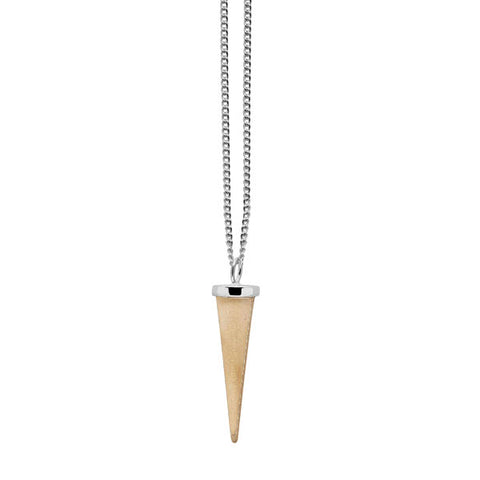 Small White wood round spike pendant - Gold