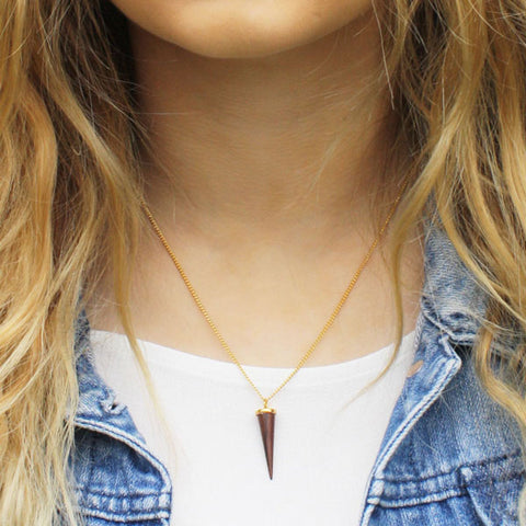 Small faceted Rosewood and gold plated silver pendant