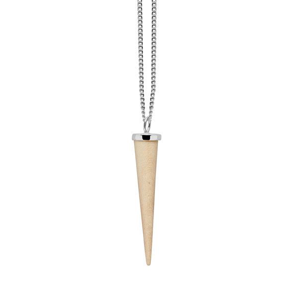 White wood and silver round spike pendant
