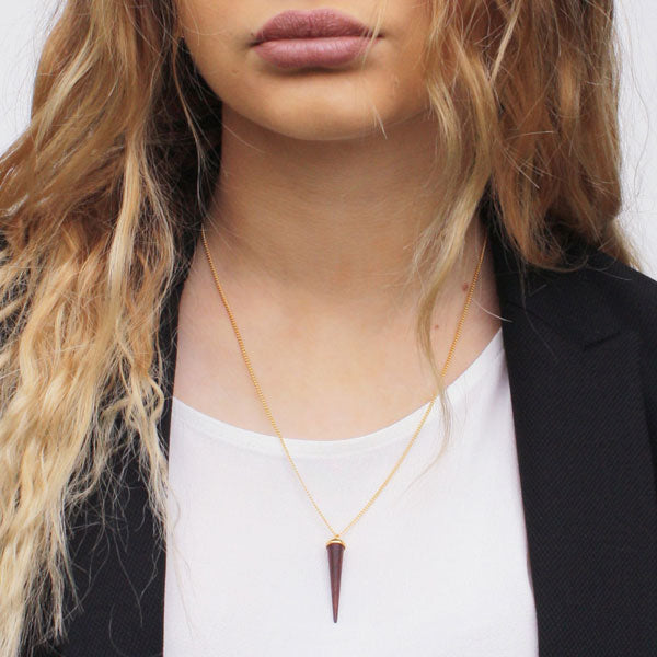 Rosewood and gold round spike pendant