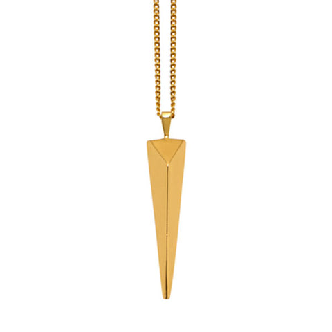 White wood & Gold plated Spike Pendant
