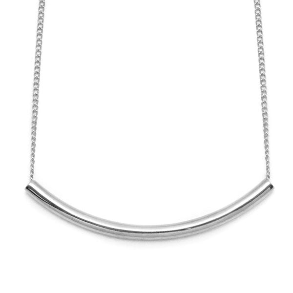 Branch Jewellery - Silver curved bar necklace on silver chain