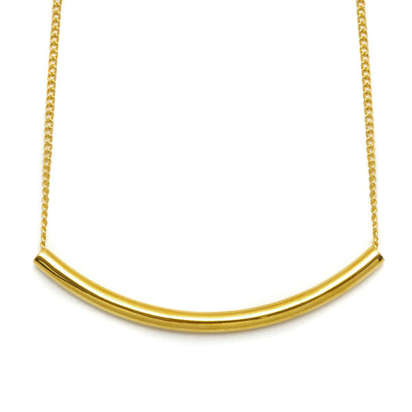 Branch Jewellery - Gold plated curved bar necklace on gold plated chain