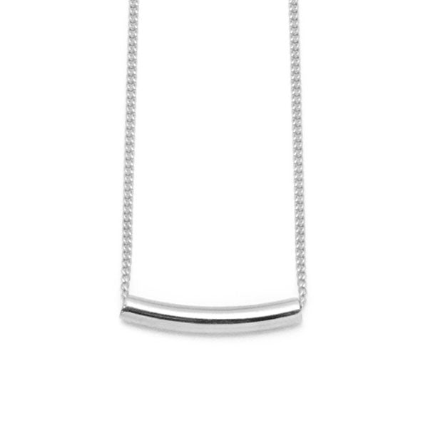 Branch Jewellery - Small silver curved bar pendant on gold chain
