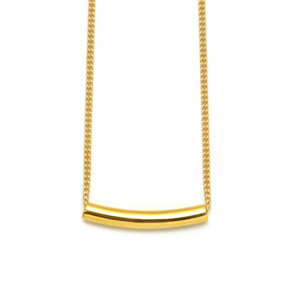 Branch Jewellery - Small gold curved bar pendant on gold chain